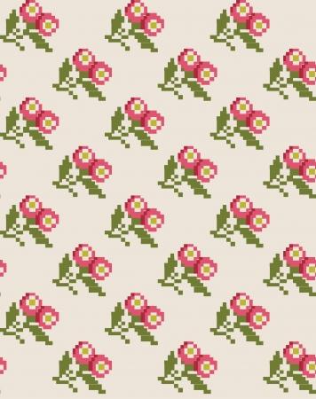 punto cruz: patrón de diseño floral lindo. ilustración vectorial