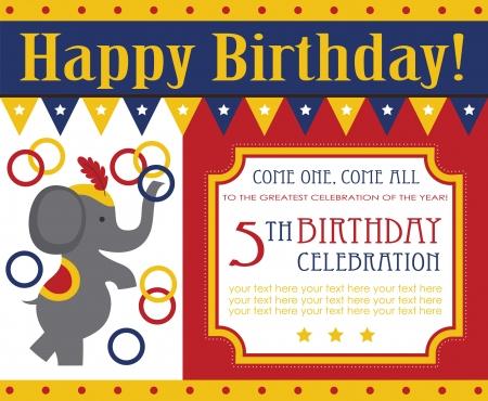big top tent: kid birthday invitation card design. vector illustration Illustration