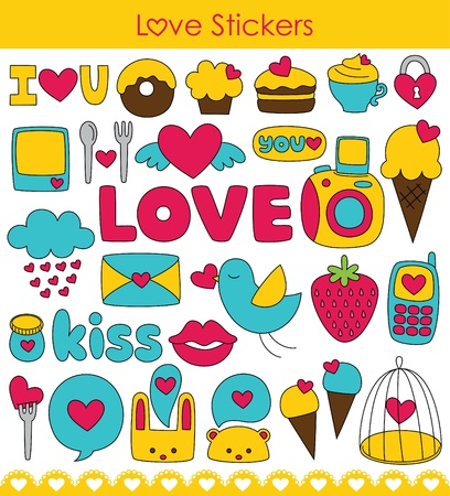 love letters: love stickers collection. vector illustration