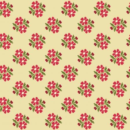 punto cruz: patr?n de dise?o floral lindo. ilustraci?n vectorial
