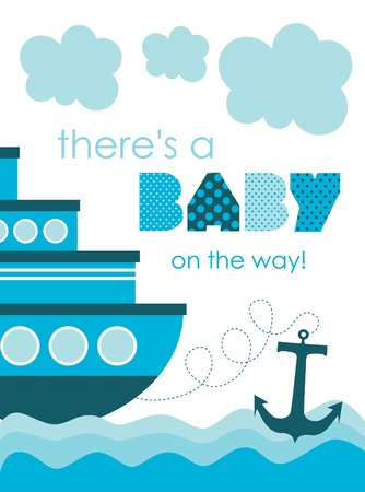 bebe azul: baby shower. dise�o del mar. ilustraci�n vectorial