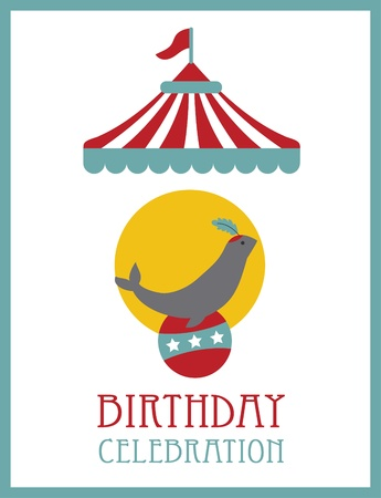 circus vector: kid happy birthday card design. circus animal. vector illustration