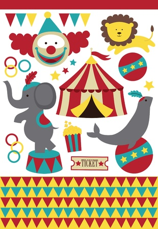 entertainment tent: cute circus elements collection. vector illustration Illustration