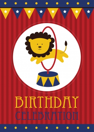 circus background: kid happy birthday card design. vector illustration