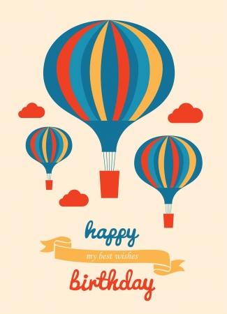 air balloon: happy birthday greeting card. vector illustration Illustration