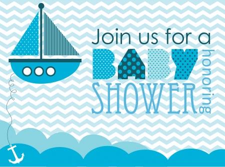 invitacion baby shower: baby shower. dise?el mar. ilustraci?ectorial Vectores