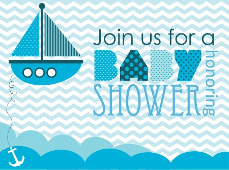 baby boy shower: baby shower. sea design. vector illustration