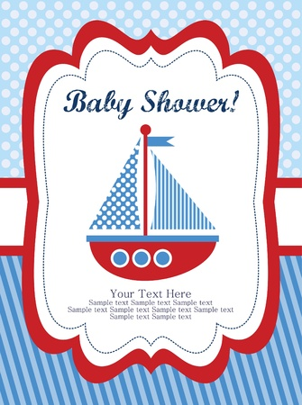 ship with gift: baby shower card design. vector illustration