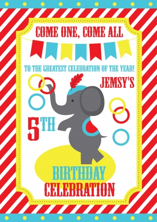 cartoon circus: kid birthday invitation card design. vector illustration Illustration