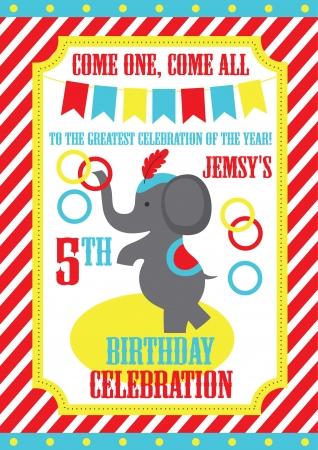 big top circus: kid birthday invitation card design. vector illustration Illustration