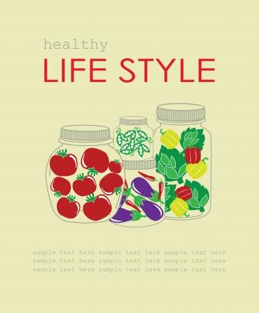 life style: saine carte de style de vie. illustration vectorielle Illustration