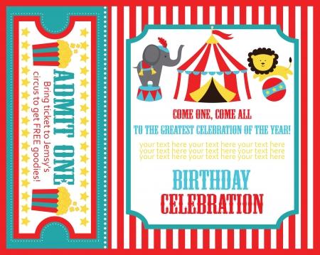 compleanno: capretto compleanno invito carta di design. illustrazione vettoriale Vettoriali