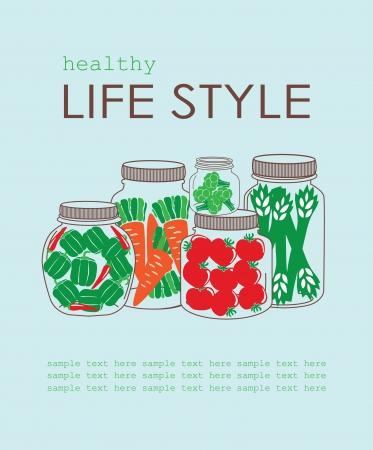 life style: carte de style de vie sain. illustration vectorielle