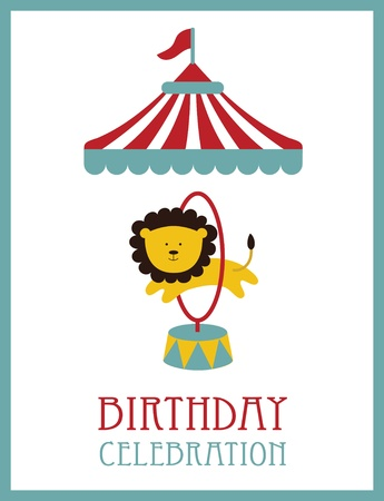 kid happy birthday card design. circus animal. vector illustration Vector