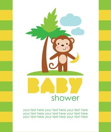 baby monkey: baby shower design. vector illustration Illustration