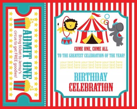 carnival background: kid birthday invitation card design. vector illustration Illustration