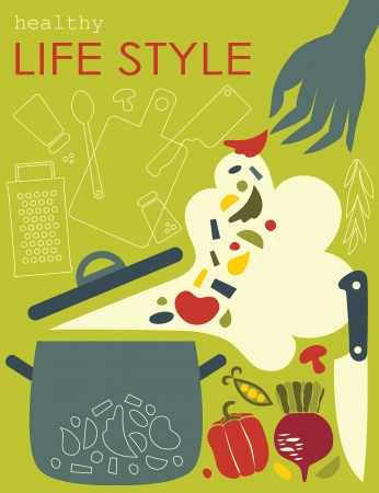 greengrocery: healthy life style card. vector illustration
