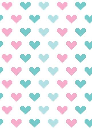 punto cruz: punto de cruz patrón de diseño corazones lindos. ilustración vectorial