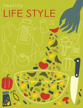 健康的なライフ スタイルのカード。ベクトル イラスト