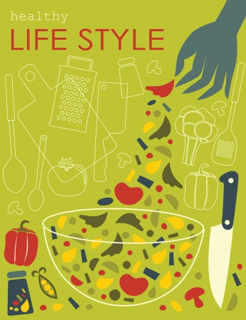 healthy life style card. vector illustration