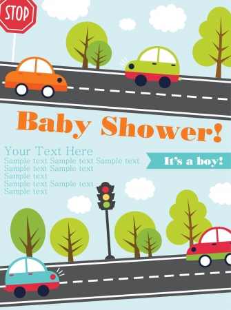 babies with toys: baby shower card design. vector illustration