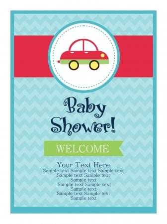 welcome smile: dise?e tarjeta de baby shower. ilustraci?ectorial Vectores