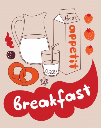 my cute breakfast card design. vector illustration Vector