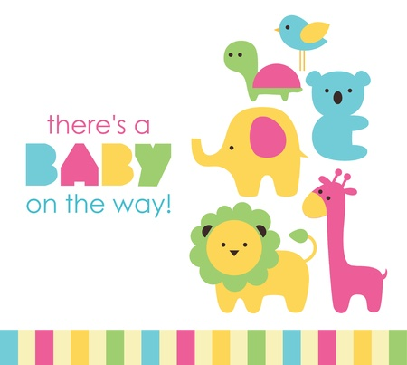 kisbabák: baba zuhany design. vektoros illusztráció