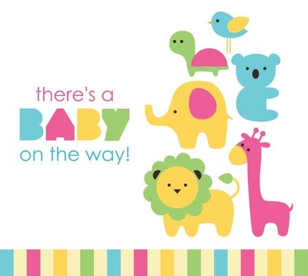 niemowlaki: projekt baby shower. ilustracji wektorowych Ilustracja