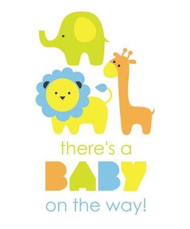 lion baby: baby doccia design. illustrazione vettoriale Vettoriali