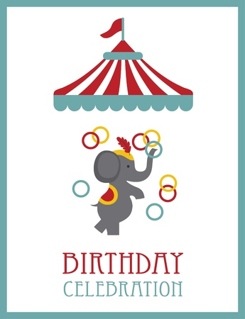 entertainment tent: kid happy birthday card design. circus animal. vector illustration