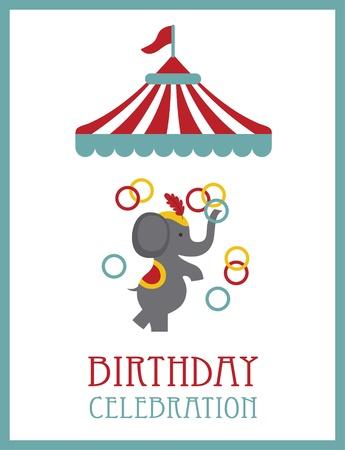 big top tent: kid happy birthday card design. circus animal. vector illustration
