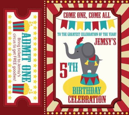 tickets: kid birthday invitation card design. vector illustration Illustration