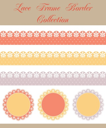 set of cute lace elements. vector illustration Vector
