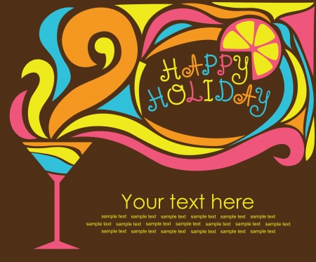 cocktail party: happy holiday card with cocktail  vector illustration
