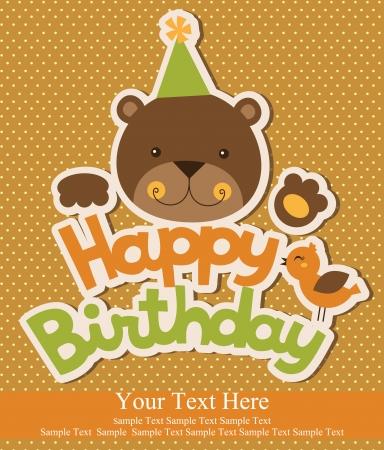 happy birthday party: dise?o de la tarjeta de cumplea?os feliz. ilustraci?n vectorial