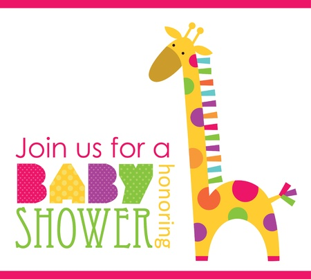 giraffe cartoon: baby shower card design. vector illustration