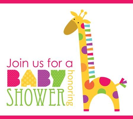 jirafa caricatura: dise?o de tarjeta de baby shower. ilustraci?n vectorial