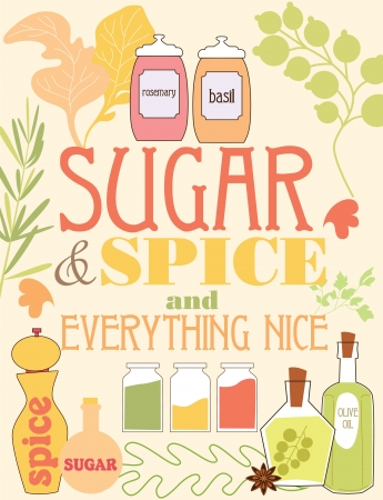 jars: spice card design. vector illustration
