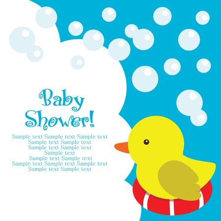 baby duck: divertimento doccia Baby card. illustrazione vettoriale Vettoriali
