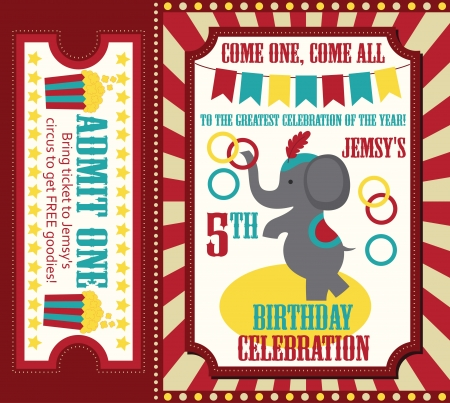 fete: kid birthday invitation card design. vector illustration Illustration
