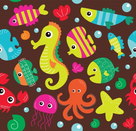 seamless underwater texture design. vector illustration Vector