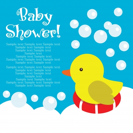 little girl bath: fun baby shower card. vector illustration