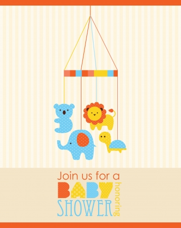 leo: baby shower card design. vector illustration
