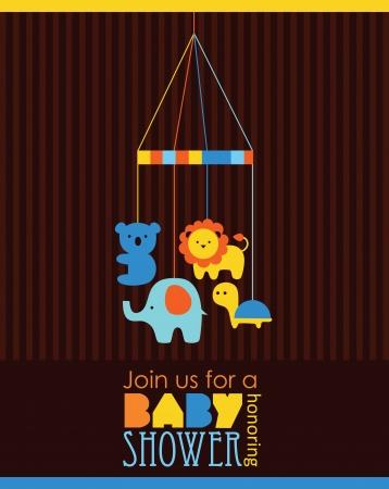 leon bebe: dise?e tarjeta de baby shower. ilustraci?ectorial Vectores
