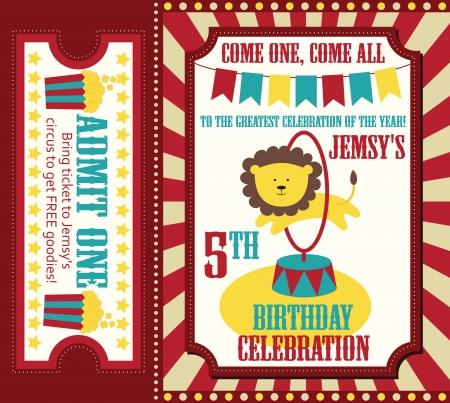 event tickets: kid birthday invitation card design. vector illustration Illustration