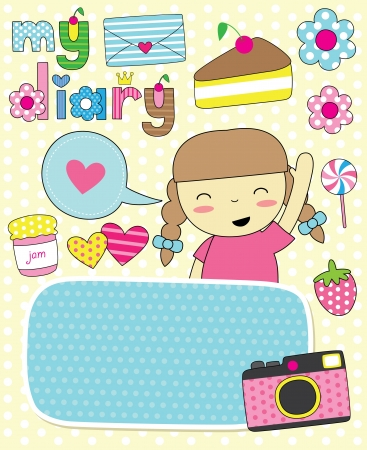 dear: dear diary scrapbook elements  vector illustration