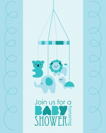 boys happy: baby boy shower design. vector illustration