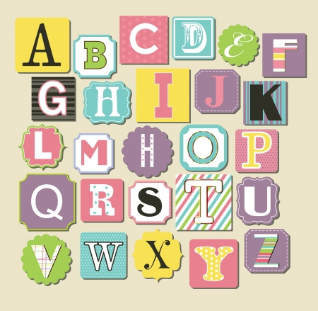 baby stickers: cute alphabet design. vector illustration