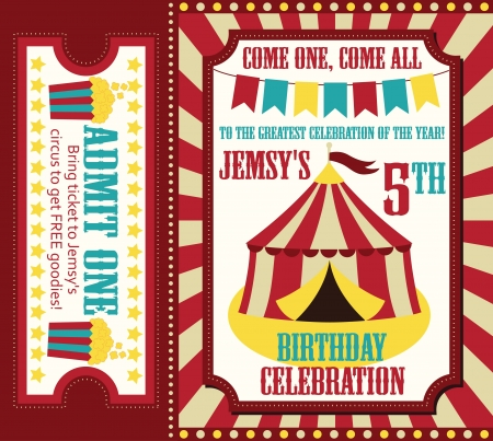 circus ticket: kid birthday invitation card design. vector illustration Illustration